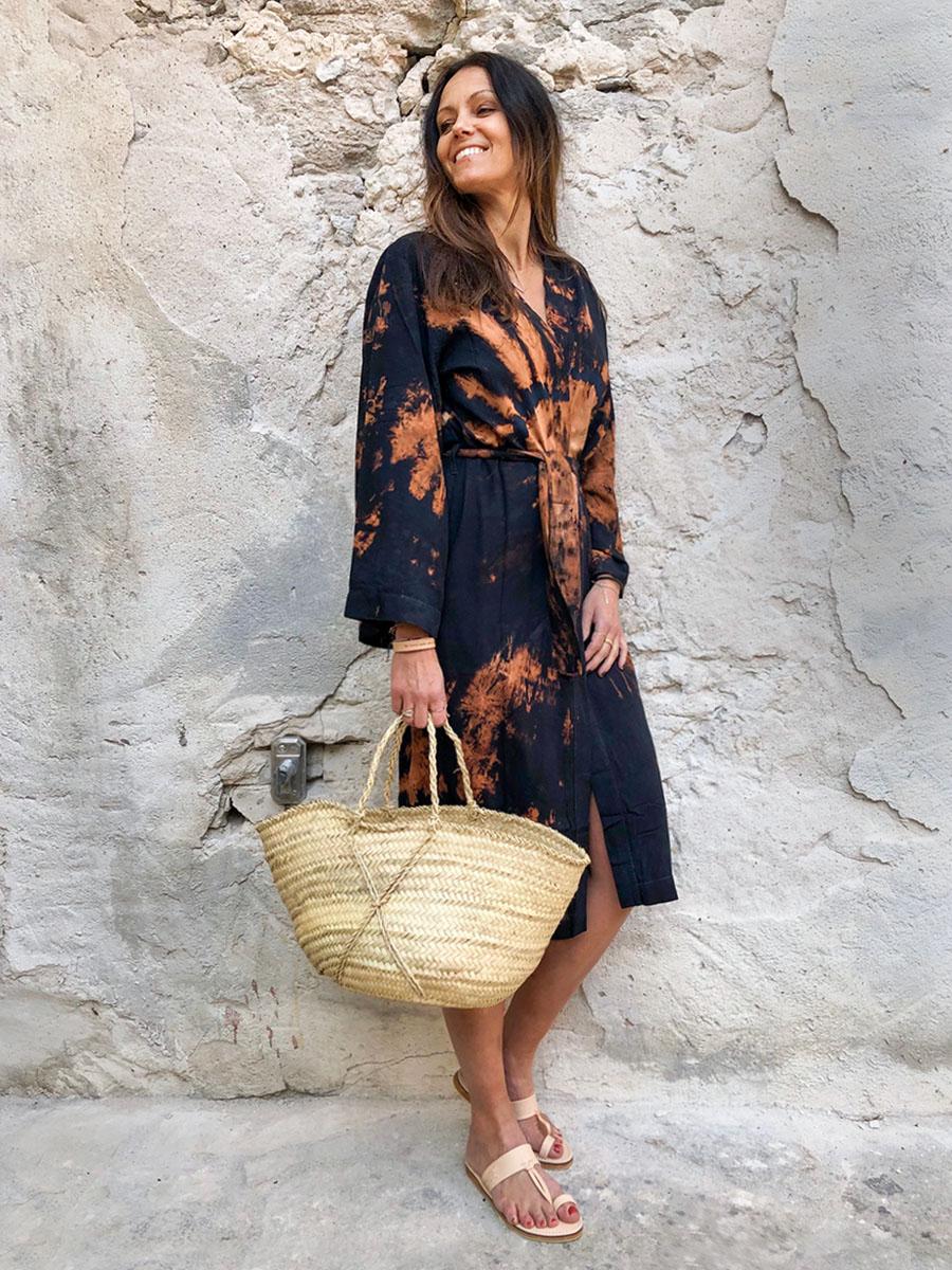 Coconut Milk tie dye midnight rust kimono 1c
